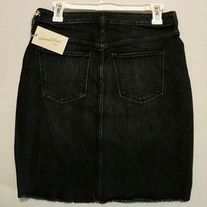 womens denim mini skirt black